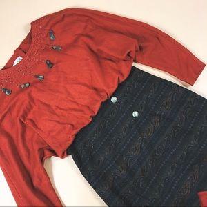 Vtg 90s Tassel Paisley Oversized Boho Dress M